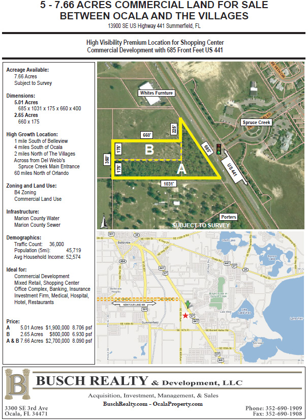 To  Acres Commercial Land US   B Busch Realty  Ocala - Us 441 map