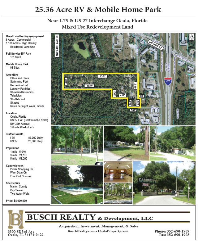 25 36 Acre RV and Mobile Home Park ** SOLD ** – |B| Busch